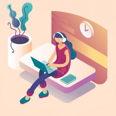A illustrated woman is working at home